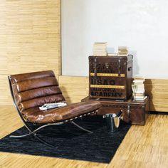 Fauteuil en cuir marron effet vieilli Beaubourg   Maisons du Monde