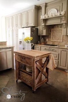 diy rustic kitchen island kitchen island cart build a rustic x small rolling kitchen island free and easy Rolling Kitchen Island, Farmhouse Kitchen Island, Kitchen Rustic, Mobile Kitchen Island, Barn Kitchen, Country Kitchen, Small Rustic Kitchens, Reclaimed Kitchen, Timber Kitchen