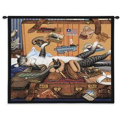 Mabel The Stowaway Cat Art Tapestry Wall Hanging