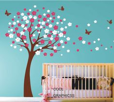 Cherry Blossom Tree - Vinyl wall decals trees wall decals nursery wall decals baby girl children wall decals  white  pink flowers butterfly $68 + $15 shipping