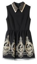 Black Lapel Sleeveless Embroidery Tank Dress $46.45  SKU:dress13022616
