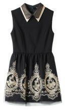 Black Lapel Sleeveless Embroidery Tank Dress $46.45  SKU:dress13022616