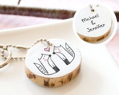 Couple Keychain PERSONALIZED Fox Cute Drawing Custom Funny Unique Gift Women Men Love Heart Handmade Keyring Round Reclaim Wood ECO FRIENDLY. $20.00, via Etsy.