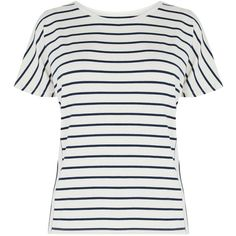Warehouse Panel Stripe T-shirt, White ($29) ❤ liked on Polyvore featuring tops, t-shirts, striped tees, striped top, short sleeve tops, short sleeve t shirts and relax t shirt