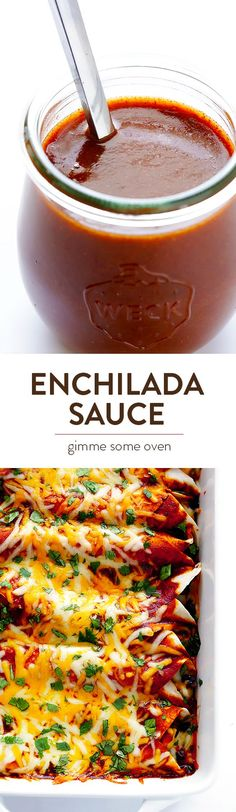 This homemade red enchilada sauce recipe is easy to make, and WAY better than anything you can buy at the store! | http://gimmesomeoven.com