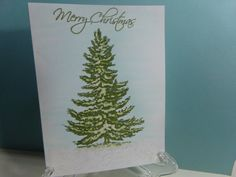 Sparkling Snowy Christmas Tree Card by TheCraftieOne on Etsy