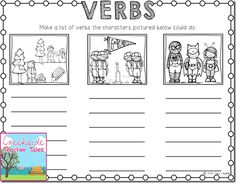 Have the kids give you verbs as you write them on the chart for the class. You could adapt this idea to suit any reading story by using illustrations from the specific story. Kindergarten Freebies, Kindergarten Language Arts, Teaching Language Arts, Kindergarten Writing, First Grade Phonics, First Grade Writing, First Grade Classroom, Teaching Verbs, Teaching Reading