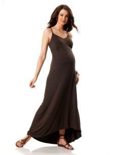 Spaghetti Strap Braided Strap Maternity Maxi Dress
