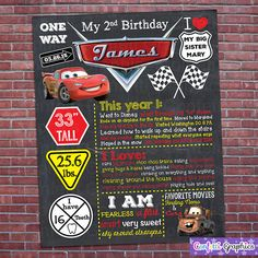 Cars Birthday Chalkboard Board Sign Banner Any Age Baby's First 1st 1 2 3 4 Boys Disney Racing Cars