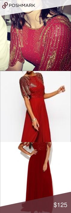 SALE  Gorgeous Virgos Lounge Dress ❤️ Beautiful Virgos Lounge Dress - Red beading with intricate designs. Long train and flowing skirt. You seriously feel like a princess wearing this! I'm usually size 6 or 8 but size 10 fit me for them. Only worn once for pharmacy school ball. Make me an offer! Virgos Lounge Dresses
