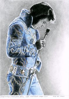 Finished and already sold to an Elvis fan in the USA! Jumpsuits & Stagewear #60, 1972 Light Blue Wheat Suit. 14 x 19 cm, Pencil and Colored pencil on Bristol Board. www.elvis-art.com