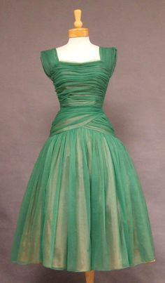 SUPER Green Chiffon 1950's Cocktail Dress w/ Gathers VINTAGEOUS VINTAGE CLOTHING ($200-500) - Svpply