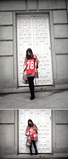 street style / grey & red navajo / Pura López  bárbara crespo  http://www.elblogdebarbaracrespo.com/