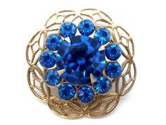 Sapphire Blue Rhinestone Brooch Pin Vintage