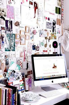 Love this need to make my office like this , more pictures on the wall ,Fashion office inspiration #decoration #office #moodboard