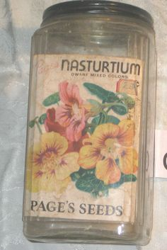 PAGE'S SEEDS ADVERTISING GLASS JAR FOR NASTURTIUM USED [GEO5501bs] #PAGESSEEDS Glass Jars, Mason Jars, Color Mixing, Seeds, Decorative Boxes, Advertising, Gardening, Glass Pitchers, Lawn And Garden