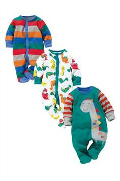 Buy Dinosaur Sleepsuits Three Pack online today at Next Direct United States of America Cute Baby Boy Outfits, Cute Baby Clothes, Kids Outfits, Little Boy Fashion, Kids Fashion, Cute Babies, Baby Kids, Swagg, Uk Online