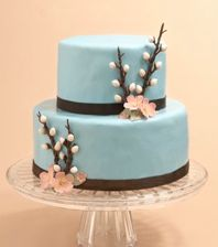 Deja Blu Catering - Cakes: Gorgeous two tier cake with elegant design perfect for a bridal shower or engagement party!