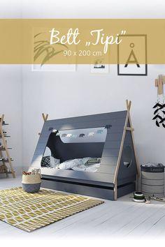Kinbderbett – Tipi 90 x 200 cm – Grau - Home Accents living room Baby Room Boy, Baby Bedroom, Kids Bedroom, Bedroom Decor, Decoracion Star Wars, Living Room Accents, Types Of Beds, Stylish Beds, Childrens Beds
