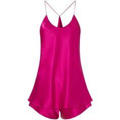 Olivia von Halle Hibiscus Silk Bella Camisole Set ($285) ❤ liked on Polyvore featuring intimates, sleepwear, pajamas, pink, spaghetti strap cami, silk cami, pink pajamas, racer back cami and silk sleep wear