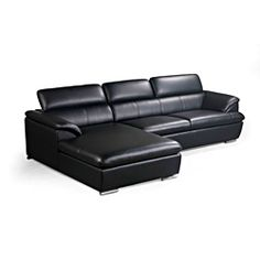@Overstock - Franklin Black Modern Sectional Sofa with Adjustable Headrests - Show off your sense  sc 1 st  Pinterest : franklin sectional sofa - Sectionals, Sofas & Couches