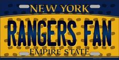Rangers Fan New York Background Novelty Metal License Plate