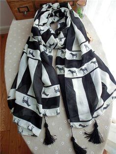Morpheus Boutique  - Black White Color Block Horse Cotton Designer Shawl Long Scarf Wrap