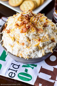 Cheesy Bacon Ranch Dip  Ingredients:  2 (8oz.) packages cream cheese, softened 1/4 cup creamy ranch dressing 2 cups shredded cheese 1/2 cup beer (I used Sam Adams OctoberFest) 3/4 cup cooked & chopped bacon...
