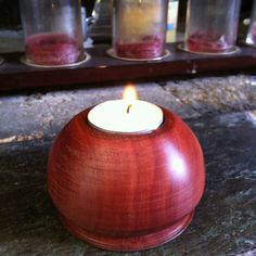 Tea light candle holder made on a lathe