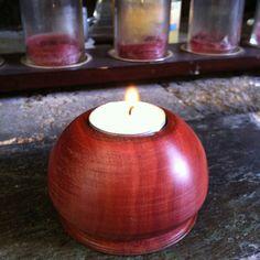 Tea light candle holder made on a lathe
