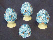 Eierwärmer  Weiß Blau 4 Stck.