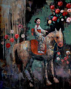 """Quiet Joy"" Rimi Yang -  60 x 48 Blue Rain Gallery"