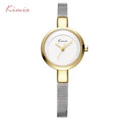 2016 New HOT Kimio Women's watches Stainless Steel fine mesh Quartz bracelet wristwatches women ladies dress watch with Gift Box http://s.click.aliexpress.com/e/u3nY3FiAM