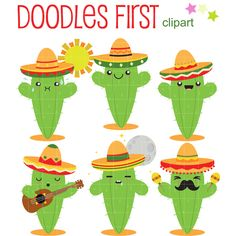 Cactus With Sombrero Clip Art for Scrapbooking Card Making Cupcake Toppers Paper Crafts by DoodlesFirst on Etsy https://www.etsy.com/listing/274182110/cactus-with-sombrero-clip-art-for