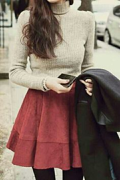 Cute Turtleneck Nude Beige Shirt Red Round Skirt Black Tights Black Coat