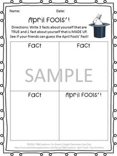 Your students will love these fun April Fool's Day worksheets! In this product you will receive the following printables: 3 Writing Prompts Word Search with separate answer key ABC Order with separate answer key Making Words April Fools' Partner Activity Making Words, April Fools Day, Holiday Activities, Second Grade, Writing Prompts, The Fool, Teacher Pay Teachers, Holiday Fun, Separate
