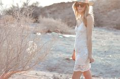 Outfit inspo: Boho desert style in a Jack by BB Dakota crochet midi dress.