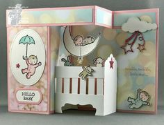 Colour INKspiration Challenge #05, #CI05 #addinktivedesigns Moon Baby, Double Z-Fold, Pop-Up Baby Crib Card, Bronwyn Eastley, Stamping' Up!