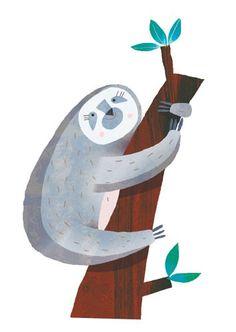 Giuditta Gaviraghi Illustration - giuditta, gaviraghi, guiditta gaviraghi,digital, traditional, commercial, picture book, picturebook, colour, colourful, sweet, cute, animal, monkey, sloth, tree, leaves