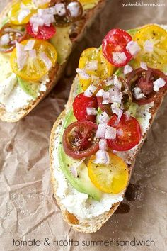Tomato and ricotta summer sandwich with avocado | yankeekitchenninja ...
