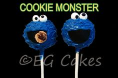 Cake Pops - Cookie Monster cake pops just make me crave cookies! http://www.sevenlittlemonkeys.com
