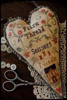 """Fabric Thread Scissors Needle"" pincushion by Little House Needleworks"