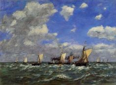 Open Sea, Oil by Eugène Louis Boudin (1824-1898, France)