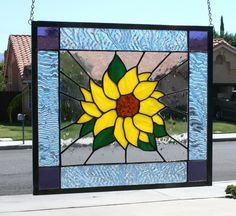 SUMMER SUNFLOWER - Large Stained Glass Window Panel. $140.00, via Etsy.