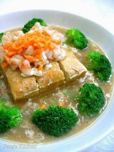This is a healthy delicious dish which my kids will not rejected as all their favourite ingredients are used, tofu, prawn and broccoli! Top with creamy egg sauce, and serve along with bowl of warm ri Tofu Recipes, Seafood Recipes, Asian Recipes, Cooking Recipes, Cooking Eggs, Chinese Recipes, Tofu Dishes, Tasty Dishes, Vegetable Dishes
