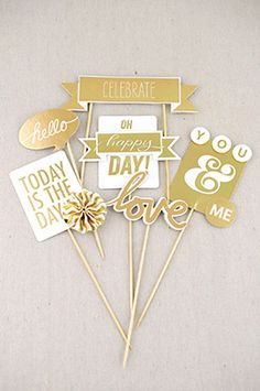 12.99 SALE PRICE! Use the Metallic Gold Party Picks to bring cheerful detail to your special event! The gold and white picks are double sided and come attach...