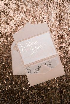 ADELE Glitter Pocket Folder, rose gold foil, rose gold glitter, elegant blush wedding invitation
