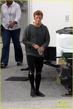 <3 Sam caflin looking very Finnick-y on set. One year left!!