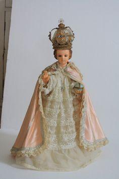 Antique Infant Jesus of Prague Statue Broken Hand by MoxieAntiques