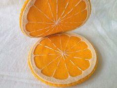 Orange Needle Book Case Holder Hand Stitched Felt by ReflectionsInFelt on Etsy Felt Diy, Felt Crafts, Fabric Crafts, Needle Book, Needle Felting, Felt Food Patterns, Felt Fruit, Felt Cake, Felt Coasters